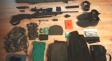 Samling af jagtudstyr